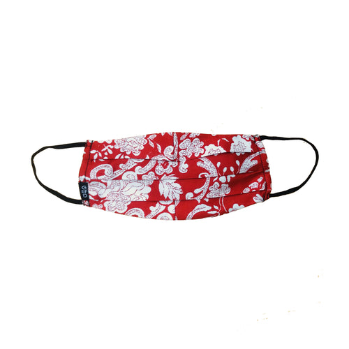 Floral Red Pleated Mask with Holder