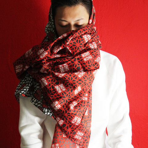 'Double Happiness' silk blend scarf (red and black)