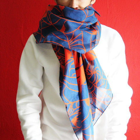 'Goldfish' silk blend scarf (orange and blue)