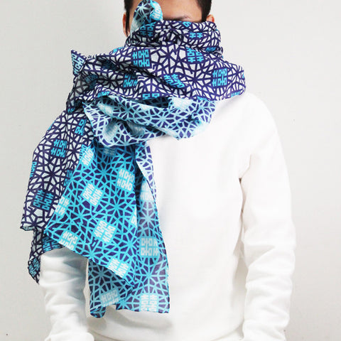'Double Happiness' silk blend scarf (blue and white)