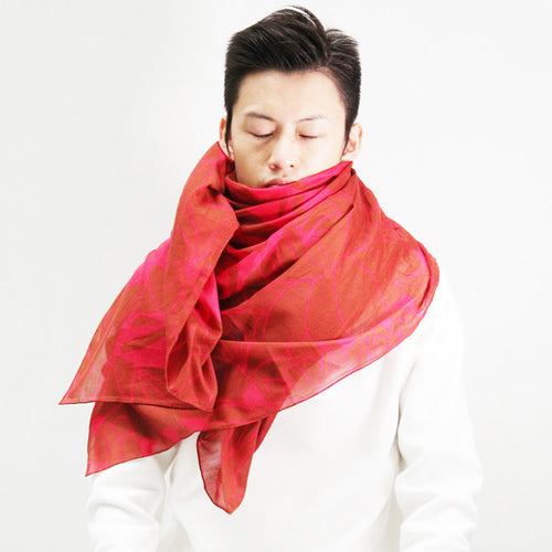 'Goldfish' silk blend scarf (ruby red)
