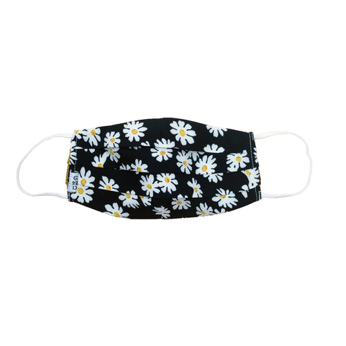 Flower Black Pleated Mask with Mesh Fabric Inner Layer