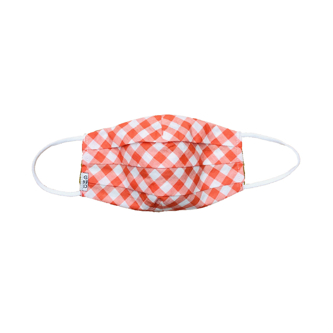 Checkers Orange Pleated Mask with Mesh Fabric Inner Layer