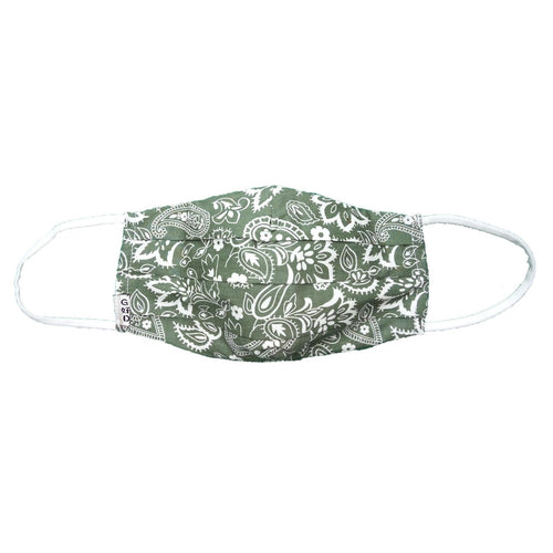 Paisley Army Green Mask with Holder