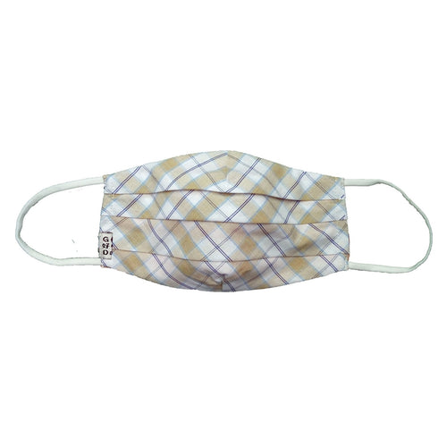Plaid Beige Cloth Mask with Holder