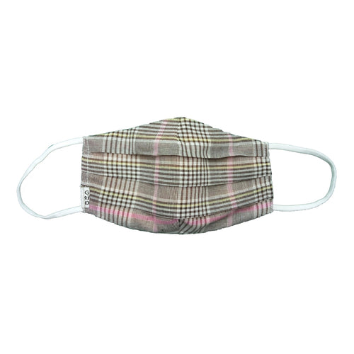 Plaid Light Brown Cloth Mask with Holder