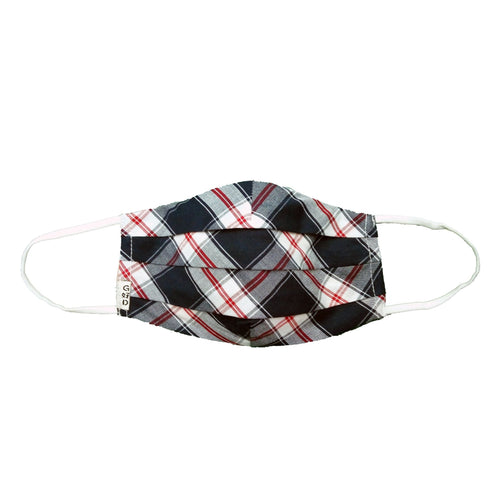 Plaid Navy Cloth Mask with Holder