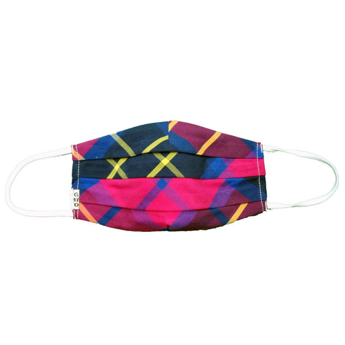 Plaid Multi Colour Cloth Mask with Holder