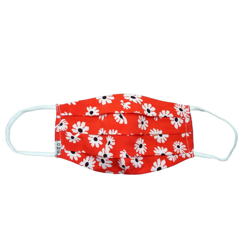 Flowers Red Cloth Mask with Holder
