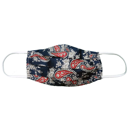 Paisley Navy Mask with Holder