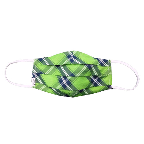 Plaid Green Cloth Mask with Holder