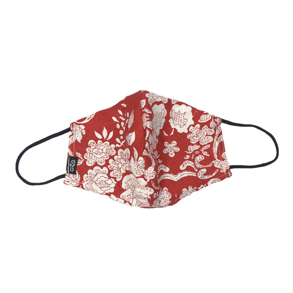 Floral Red Snouted Mask with Adjustable String (Mesh layer)