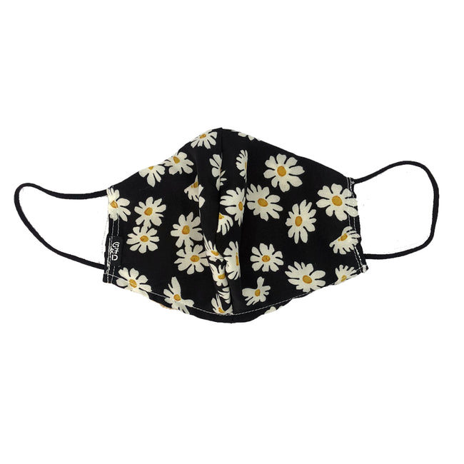 Flowers Black Snouted Mask with Adjustable String (Mesh layer)