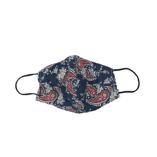 Paisley Navy Snouted Mask with Adjustable String (Mesh layer)