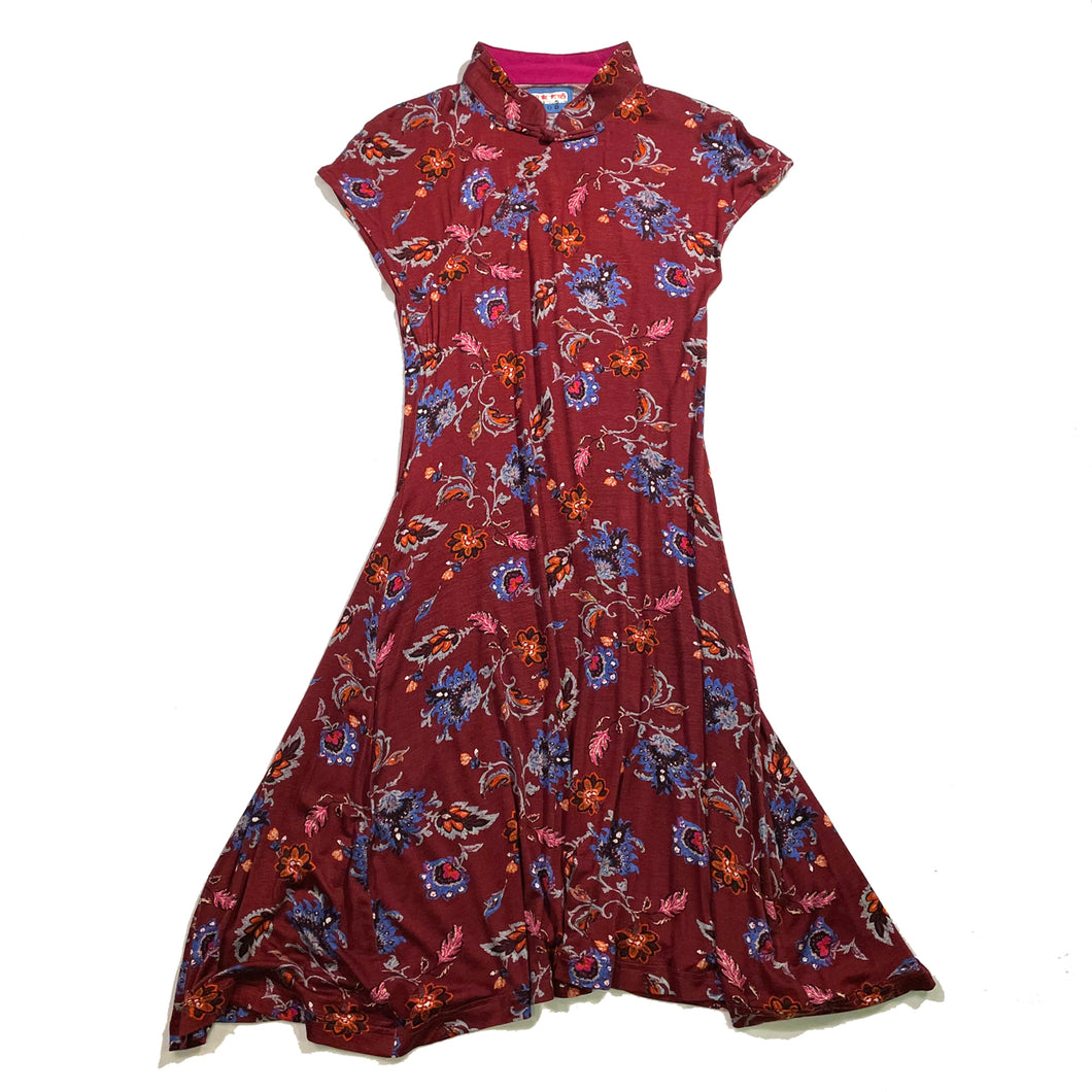 'Red/Floral' Printed Qipao Dress