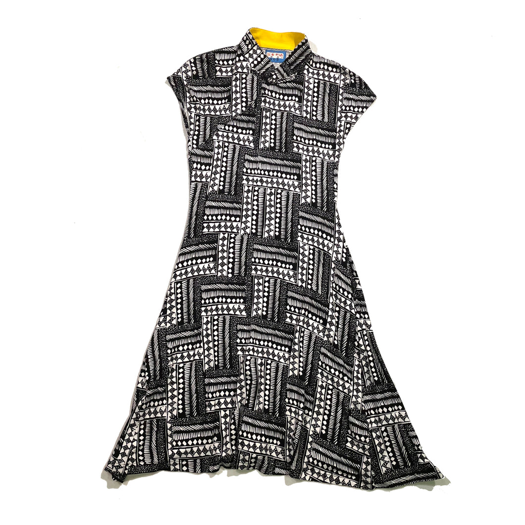 'Black Tile' Printed Qipao Dress