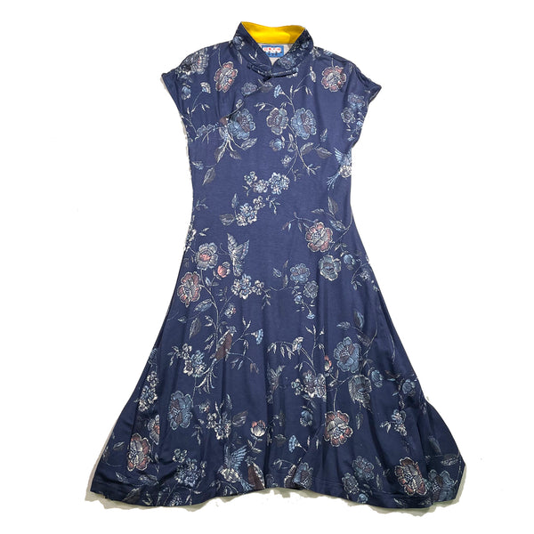 Printed Qipao Dress, Blue Floral