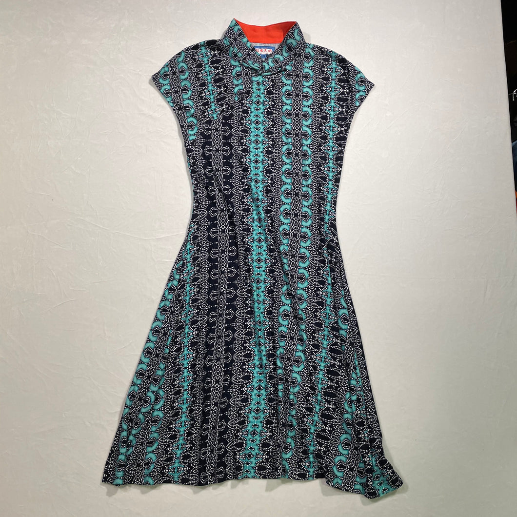 'Aqua/Navy' Printed Qipao Dress