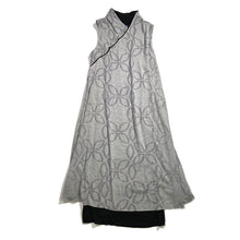 Load image into Gallery viewer, 2 Layers Sleeveless Qipao dress, Grey/Floral