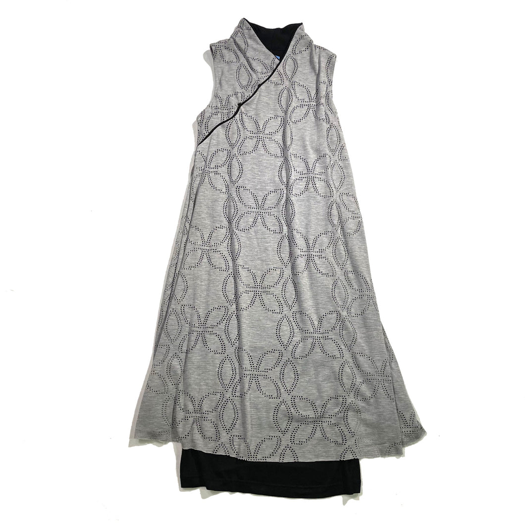 2 Layers Sleeveless Qipao dress, Grey/Floral