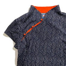 Load image into Gallery viewer, Mui Jai Top with Contrast Buttons (Navy Bubbles/Orange)