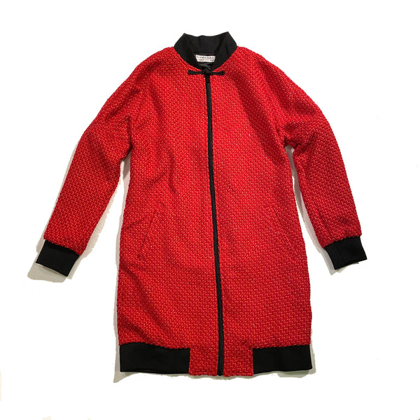Chinese Zip Long Jacket, Red Weave