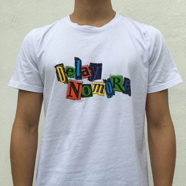 'Delay No More - Marker Sketch' T-shirt, White