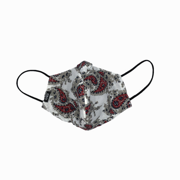 WHY-Y Mask, Red Paisley on White