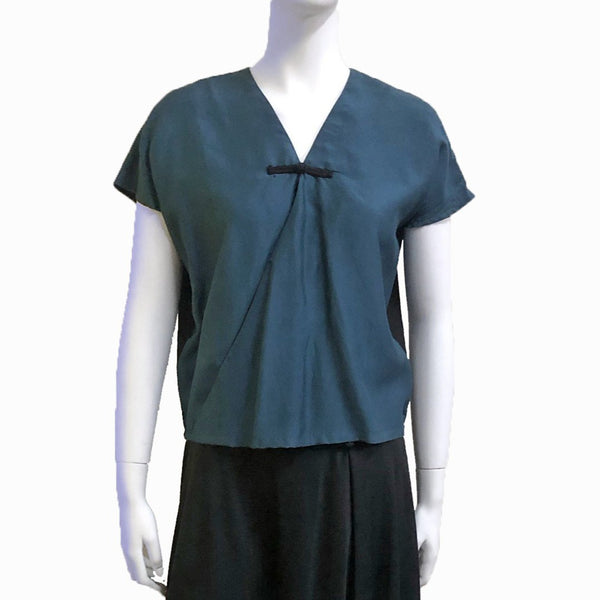 Silk Blend Wrap Top with Chinese Button, Teal/Black