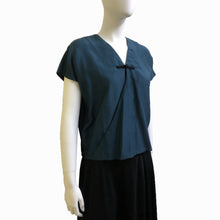 Load image into Gallery viewer, Silk Blend Wrap Top with Chinese Button, Teal/Black