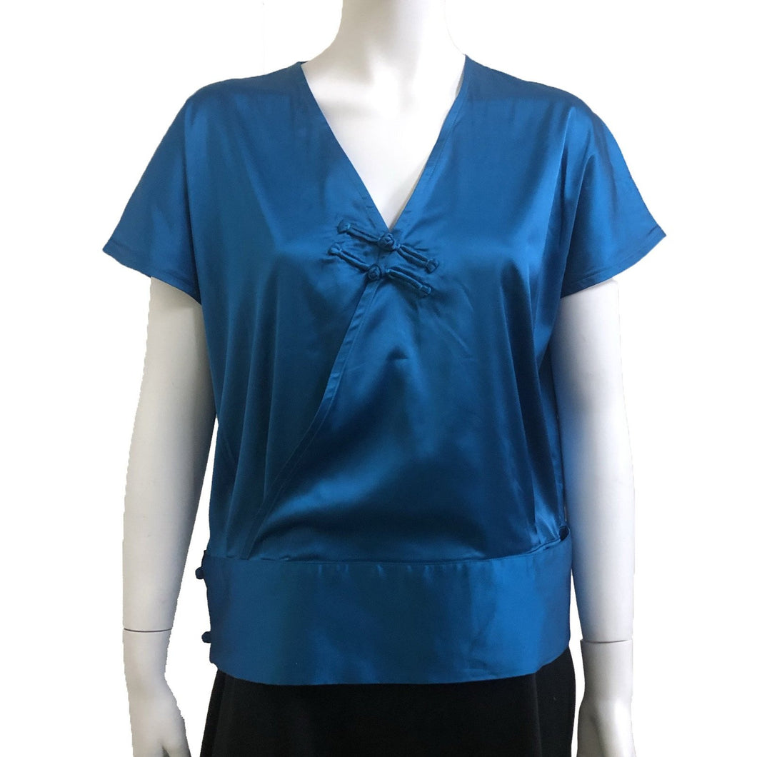 Shiny Chinese button top, Blue