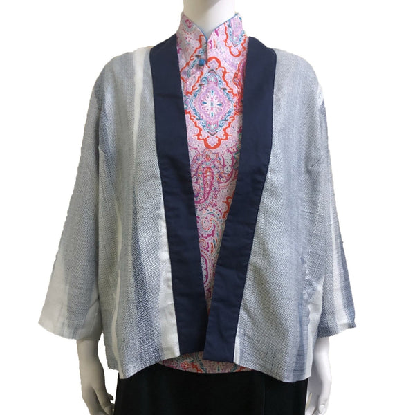 Kimono with Back Panels, Mixed Blue and White