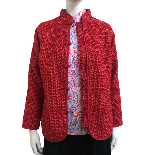 Knot Button Jacket, Red Weave
