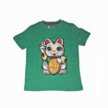 Load image into Gallery viewer, 'Lucky Cat Victory' Kids T-shirt, Green