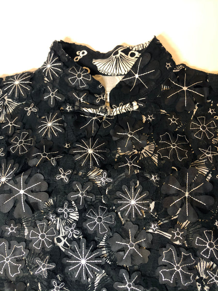 Double Layers Lace Qipao, Black