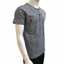 Load image into Gallery viewer, Knot Button Pocket Henley, Charcoal Grey Slub