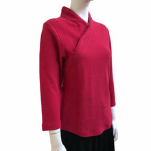 Load image into Gallery viewer, Yee Man 3/4 slv Jacquard Mui Jai Top, Red