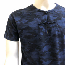Load image into Gallery viewer, Knot Button Pocket Henley, Blue Camouflage