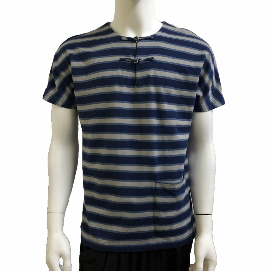 Handcrafted Buttons Top with Pocket, Blue Stripes