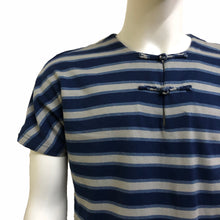 Load image into Gallery viewer, Handcrafted Buttons Top with Pocket, Blue Stripes