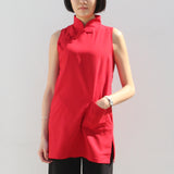 Qipao Tunic with Side Zippers Detail (Red)