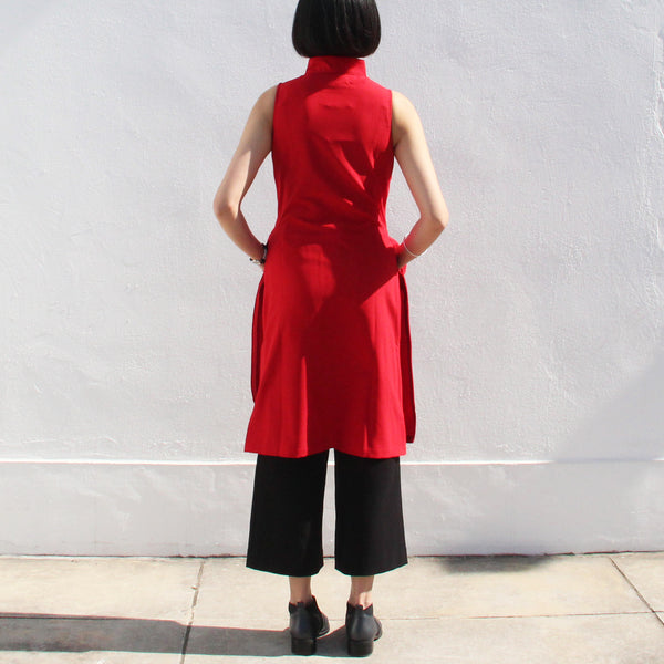 Qipao Dress with Side Zippers Detail (Red)