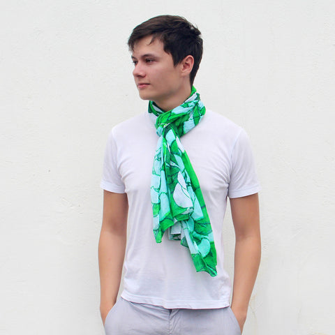 'Chrysanthemums' cotton scarf (green), Scarf, Goods of Desire, Goods of Desire