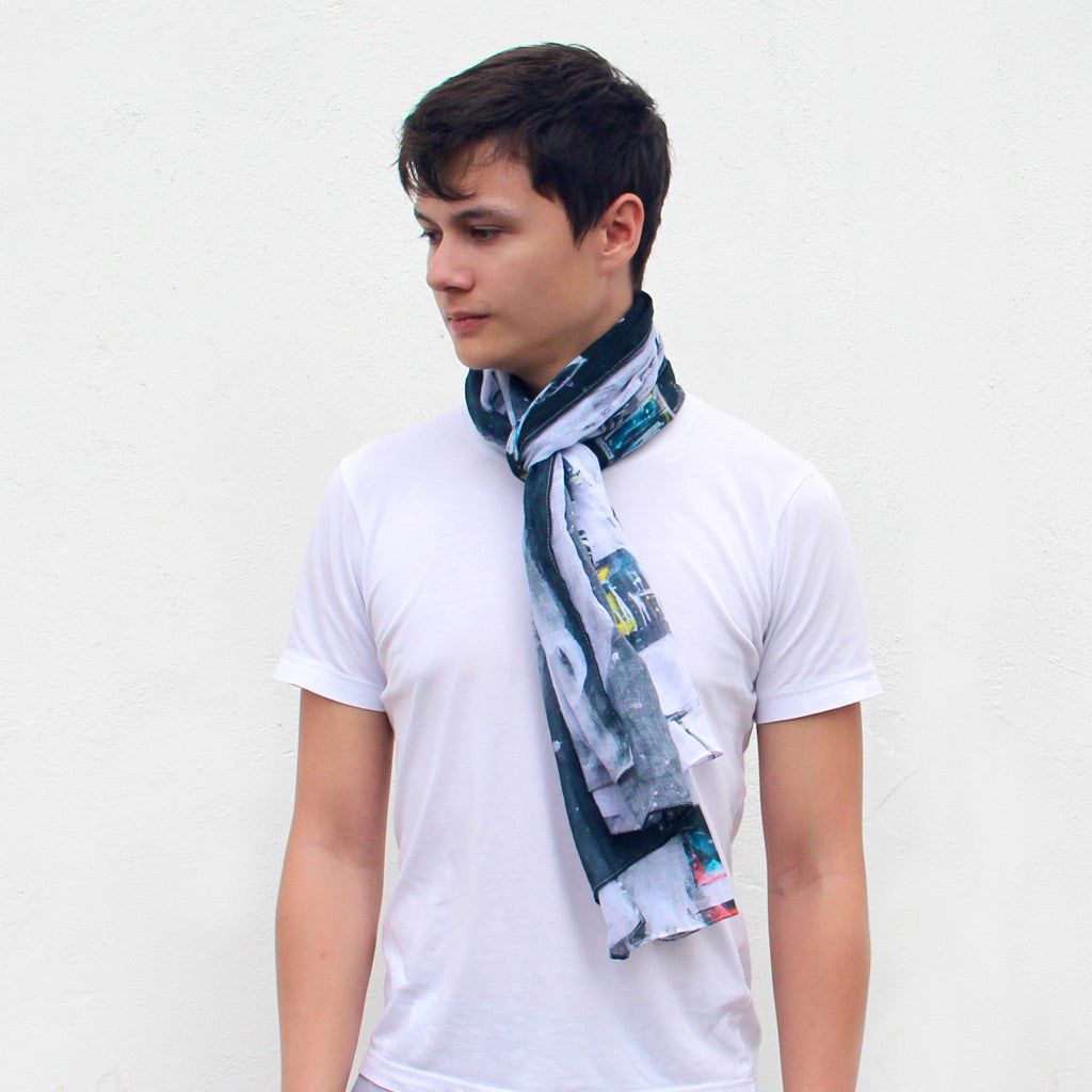 'Hong Kong Skyline' cotton scarf
