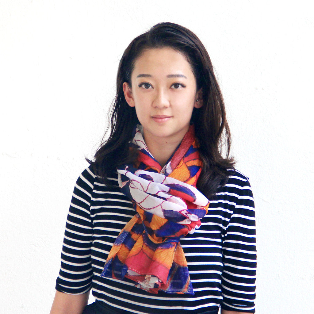 'Chrysanthemums' cotton scarf (red), Scarf, Goods of Desire, Goods of Desire