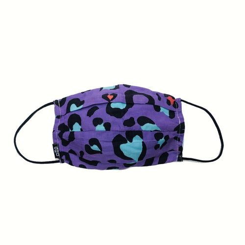 'Leopard Print Purple' Cloth Mask with Holder