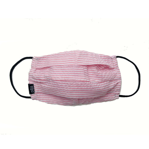 'Pink Stripes' Cloth Mask with Holder