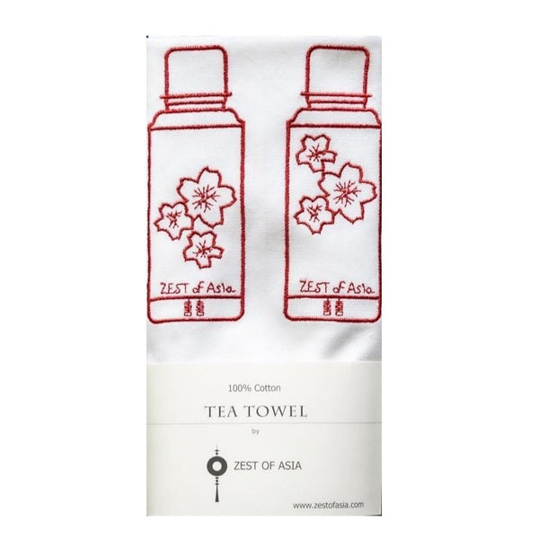 Red Thermos Flasks Tea Towel by Zest of Asia