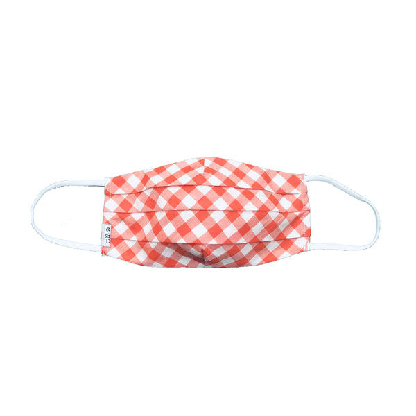 Checkers Orange Pleated Mask with Holder