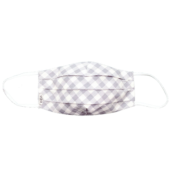 Checkers Grey Pleated Mask with Holder